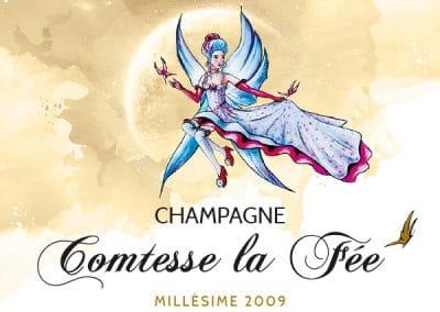 étiquette bouteille de champagne comtesse la fée millésime 2009