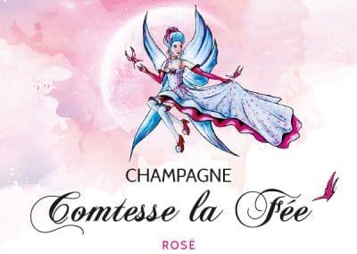 étiquette bouteille de champagne comtesse la fée rosé