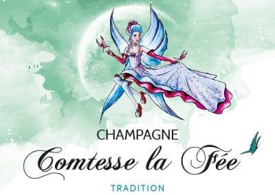 étiquette bouteille de champagne comtesse la fée tradition