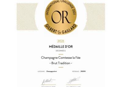 Médaille d'Or Gilbert & Gaillard - Champagne Comtesse la Fée Brut Tradition