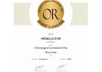 Médaille d'Or Gilbert & Gaillard - Champagne Comtesse la Fée Brut Rosé