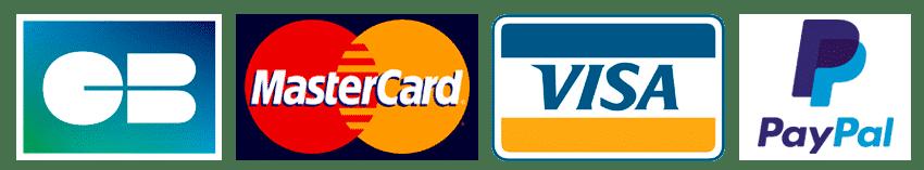 logos moyens de paiement  carte bleu mastercard visa et PayPal
