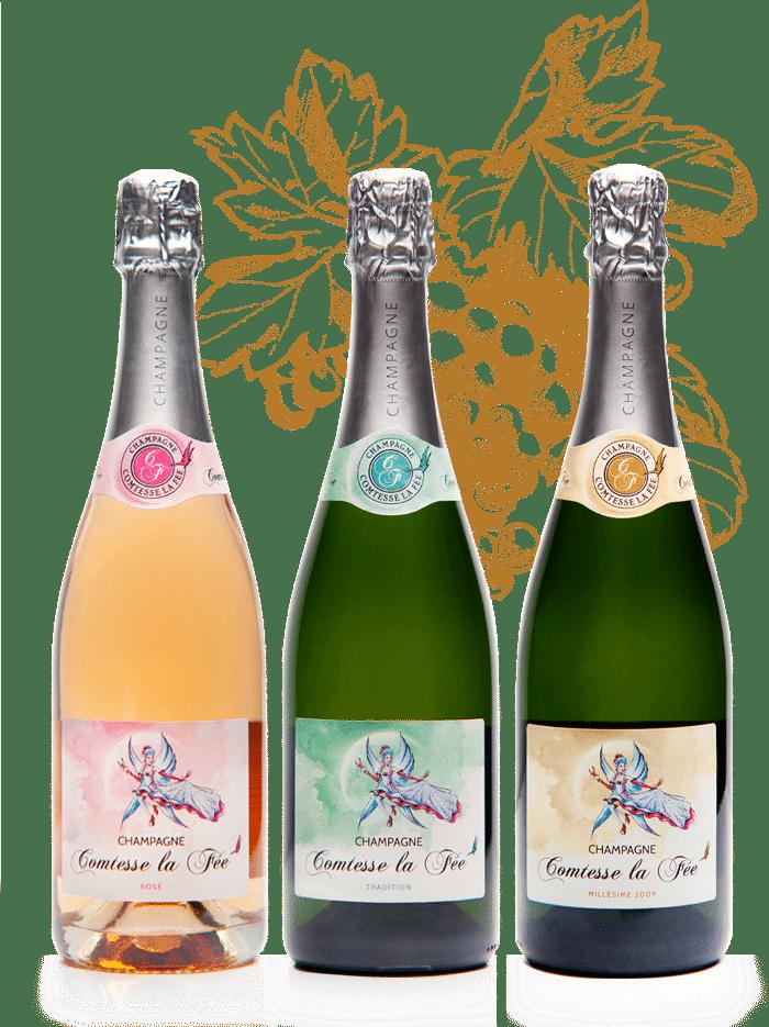 3 bouteilles de champagne Comtesse la fée rosé tradition et millésime