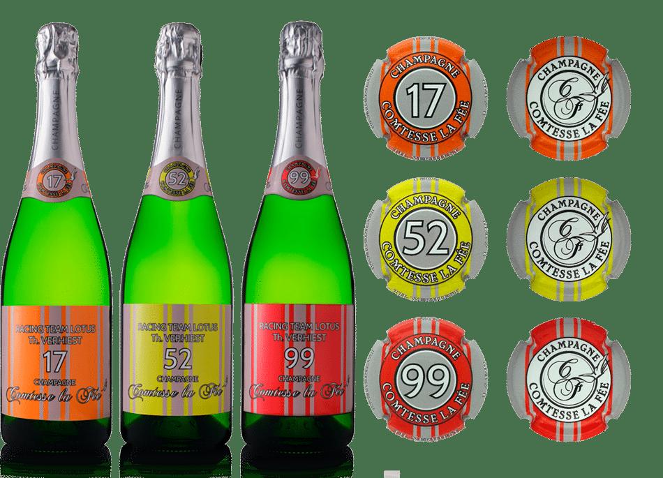 Coffret Lotus + bouteilles de champagne traduction Comtesse la fée + capsules personnalisées